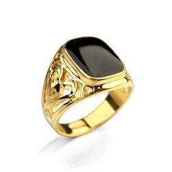 Массивное мужское кольцо- золотой цвет, размер 10